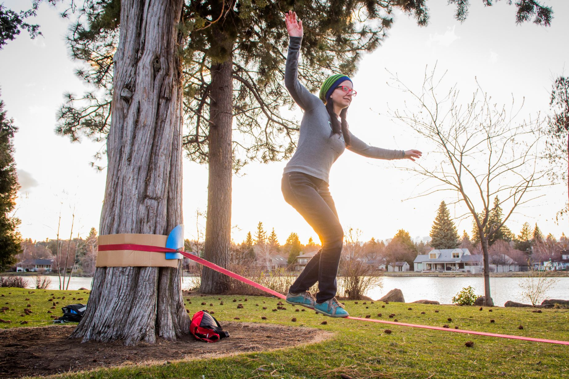Slacklining in parks bend park and recreation district for Juniper swim and fitness pool schedule