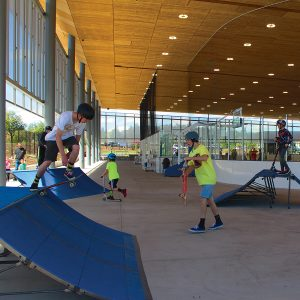 Image of the PAC childcare skatepark features open during summer break.