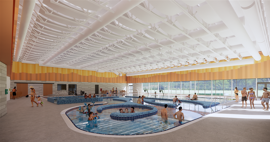 Image of the heated indoor pool and current channel for the Larkspur Community Center expansion of the Bend Senior Center.