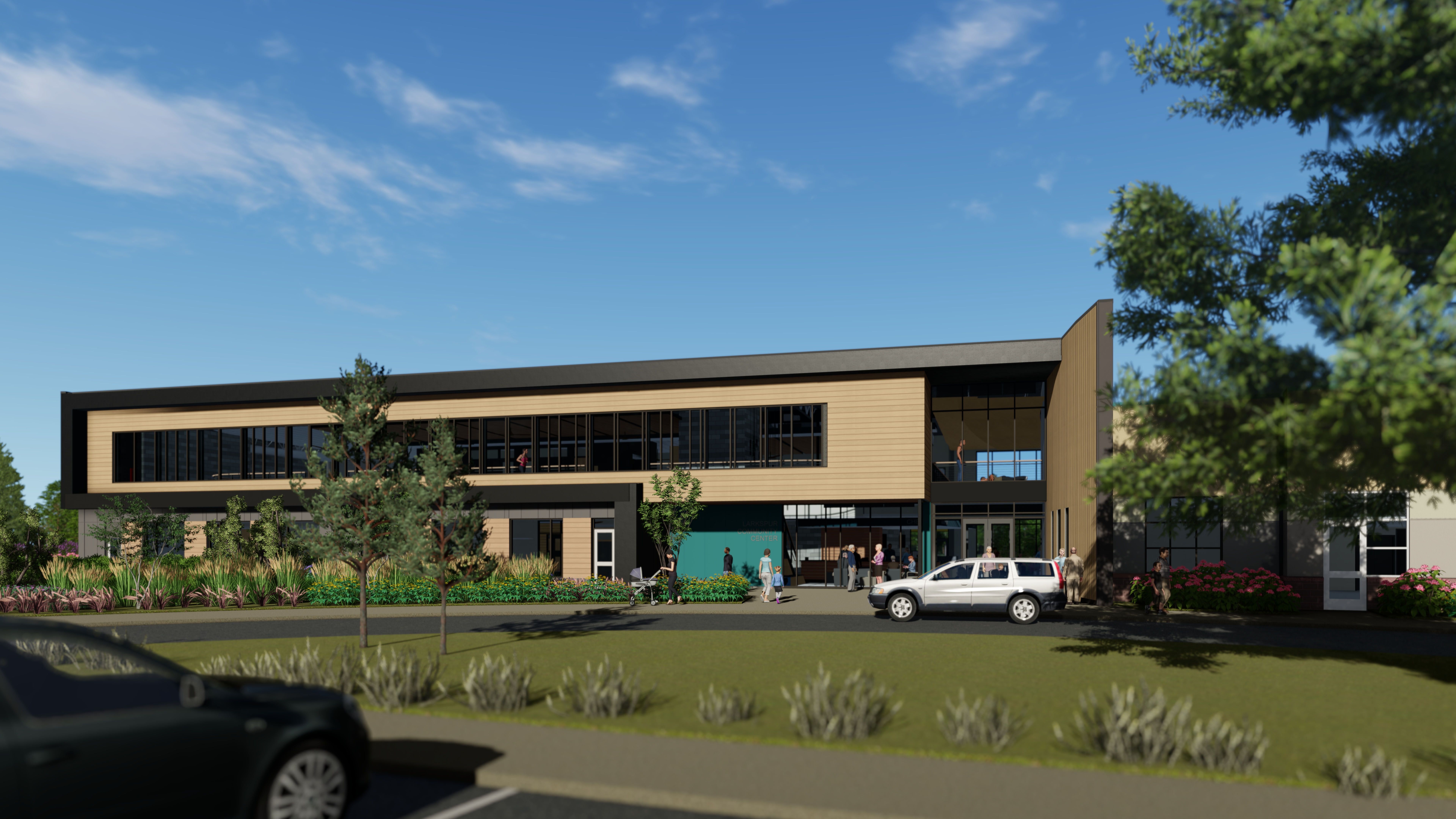 Image of the exterior of the Larkspur Community Center expansion of the Bend Senior Center.