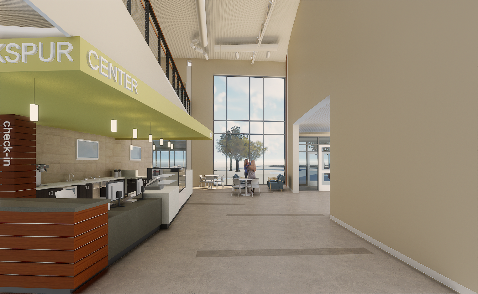 Concept image of the Lobby at the Larkspur Community Center expansion at the Bend Senior Center.