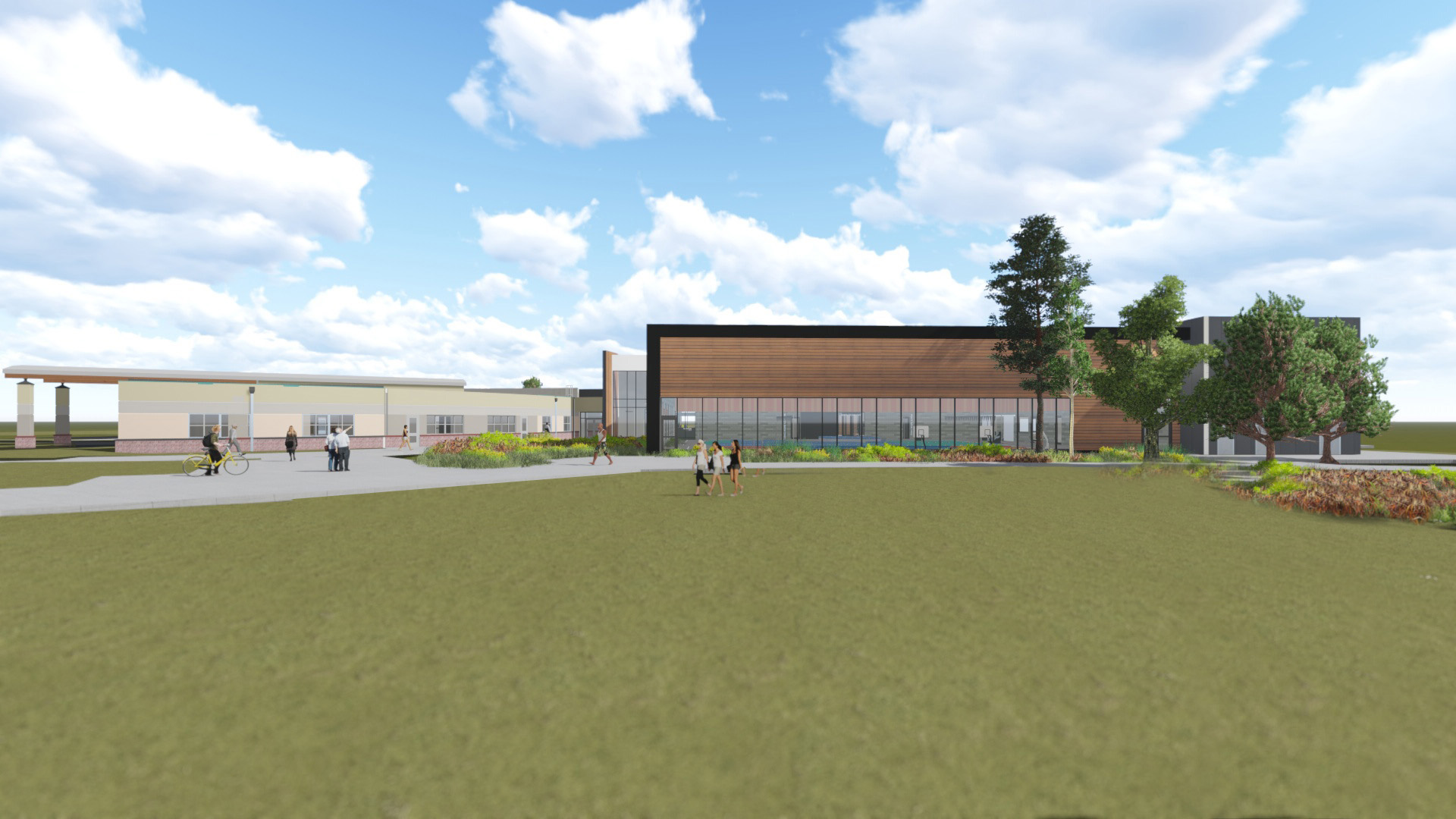 Concept image of the exterior of the Larkspur Community Center expansion at the Bend Senior Center.