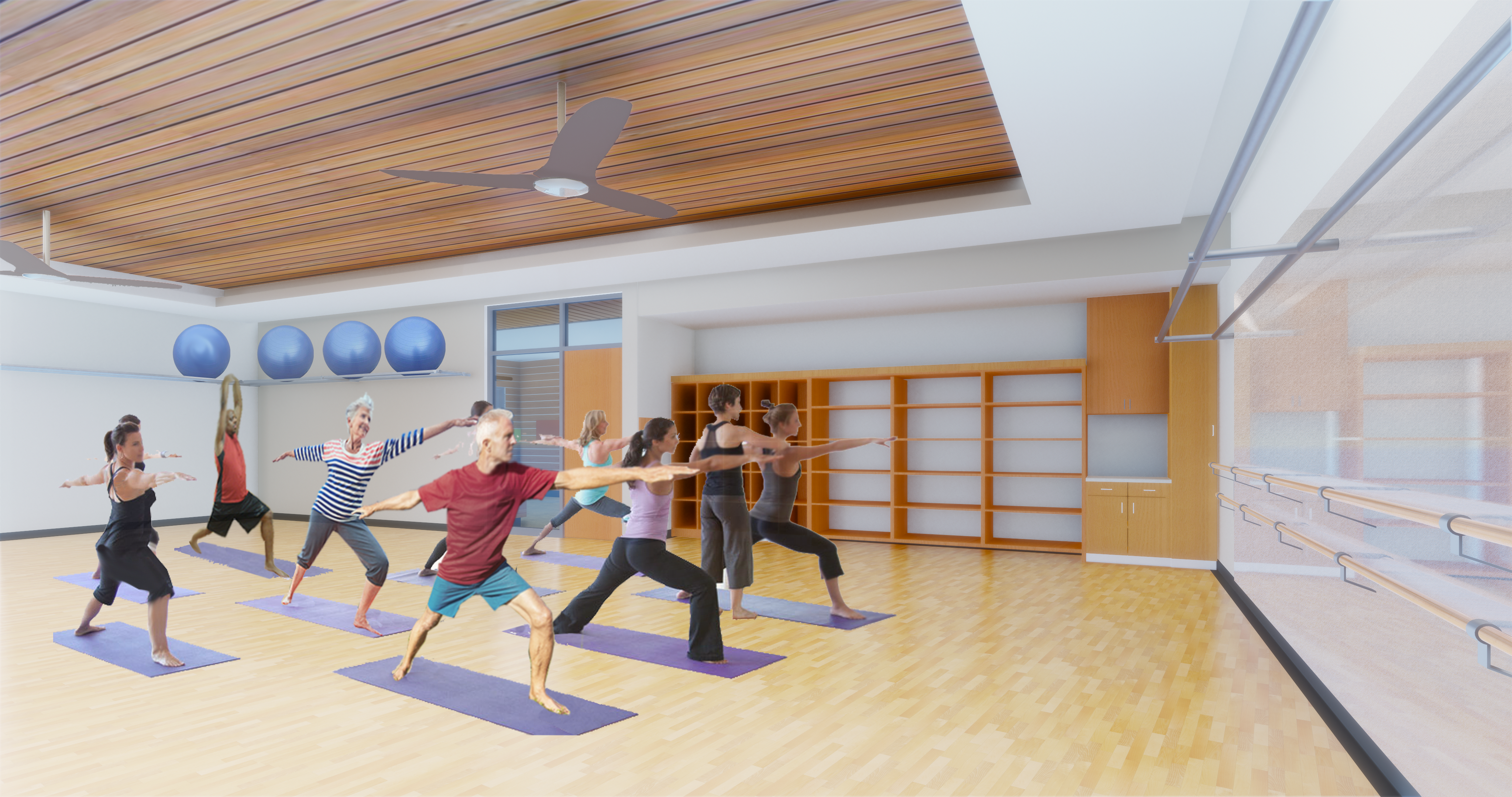 Image of the multi-purpose fitness studios of the Larkspur Community Center expansion of the Bend Senior Center.