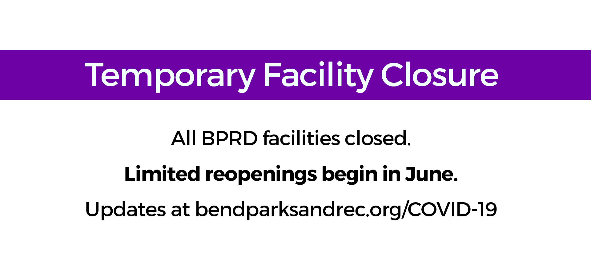 Facility closed; reopening in June