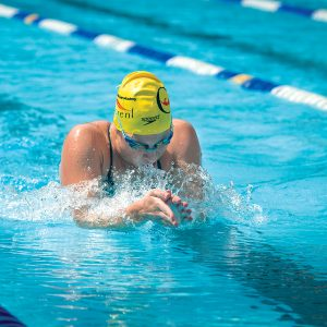 Image of a swimmer in the lap swimming pool at Juniper Swim and Fitness Center in Bend.
