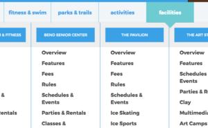 Image showing drop-down menu navigation.