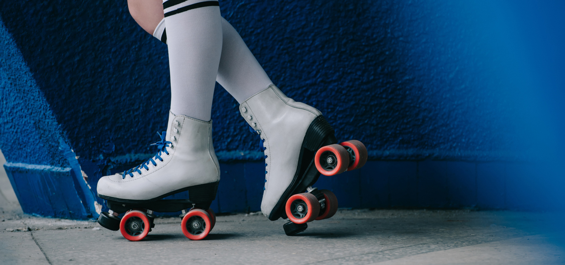 roller skates with kneehigh socks