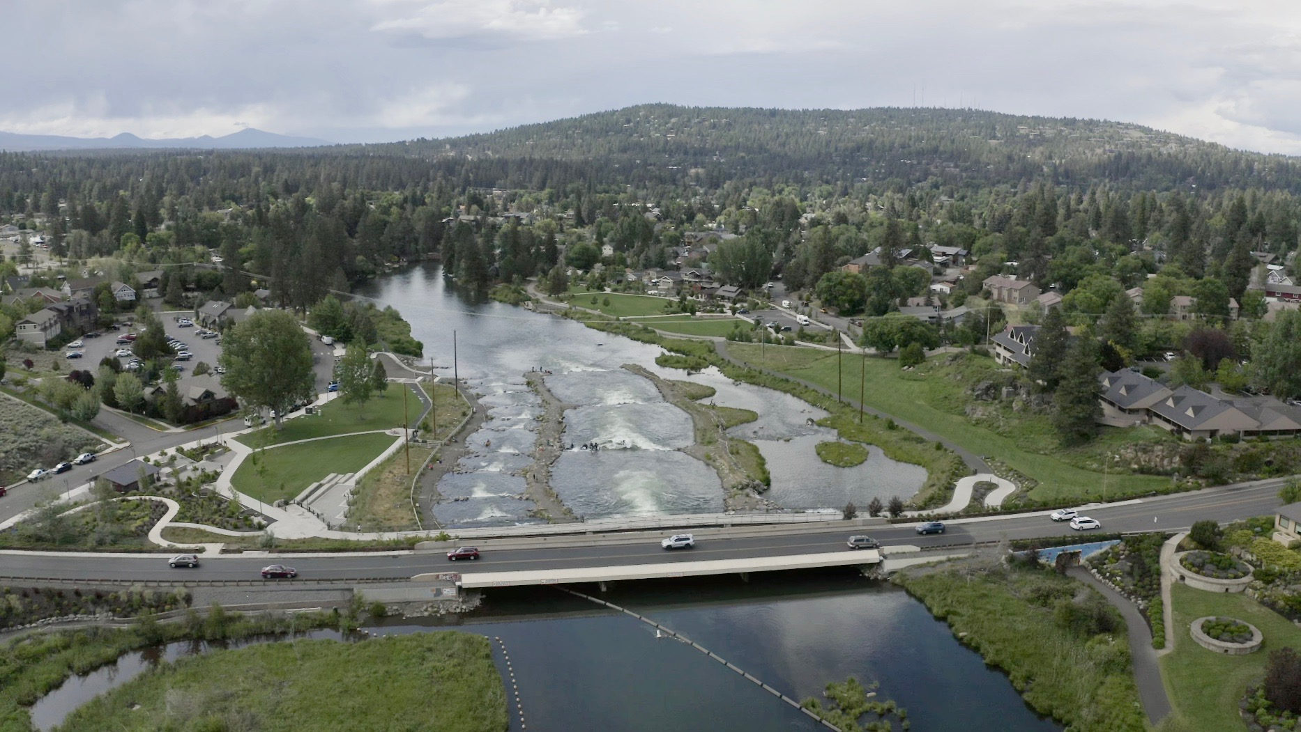 Aerial image of the Bend White Water Park in Bend, Oregon.