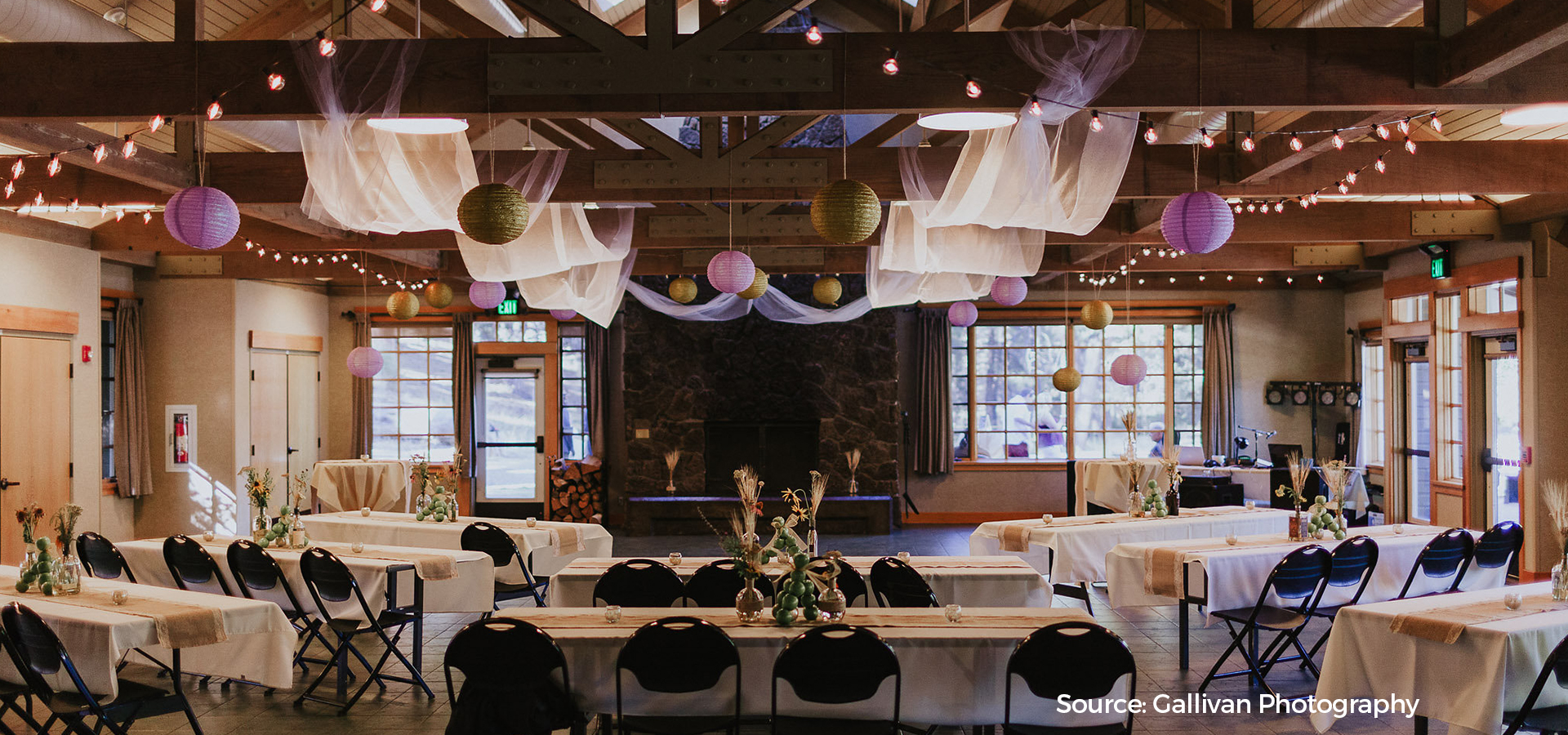 Image of the interior of Aspen Hall for an event rental.