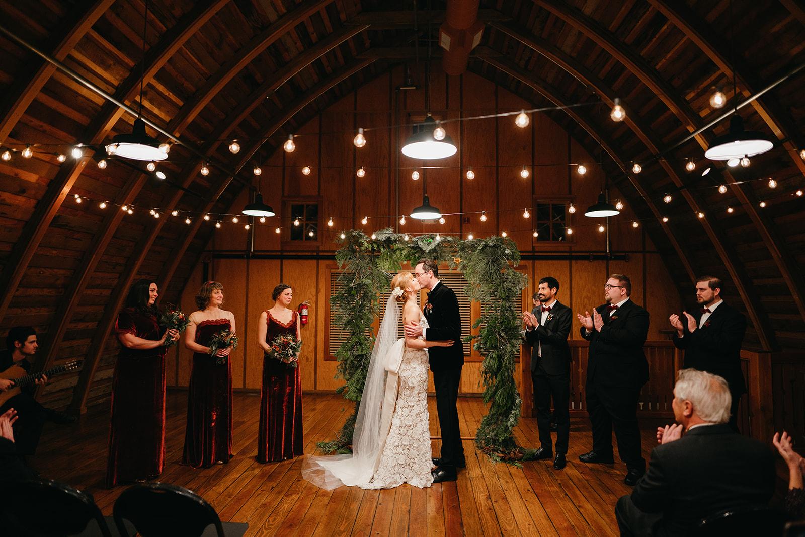 wedding ceremony at Hollinshead Barn