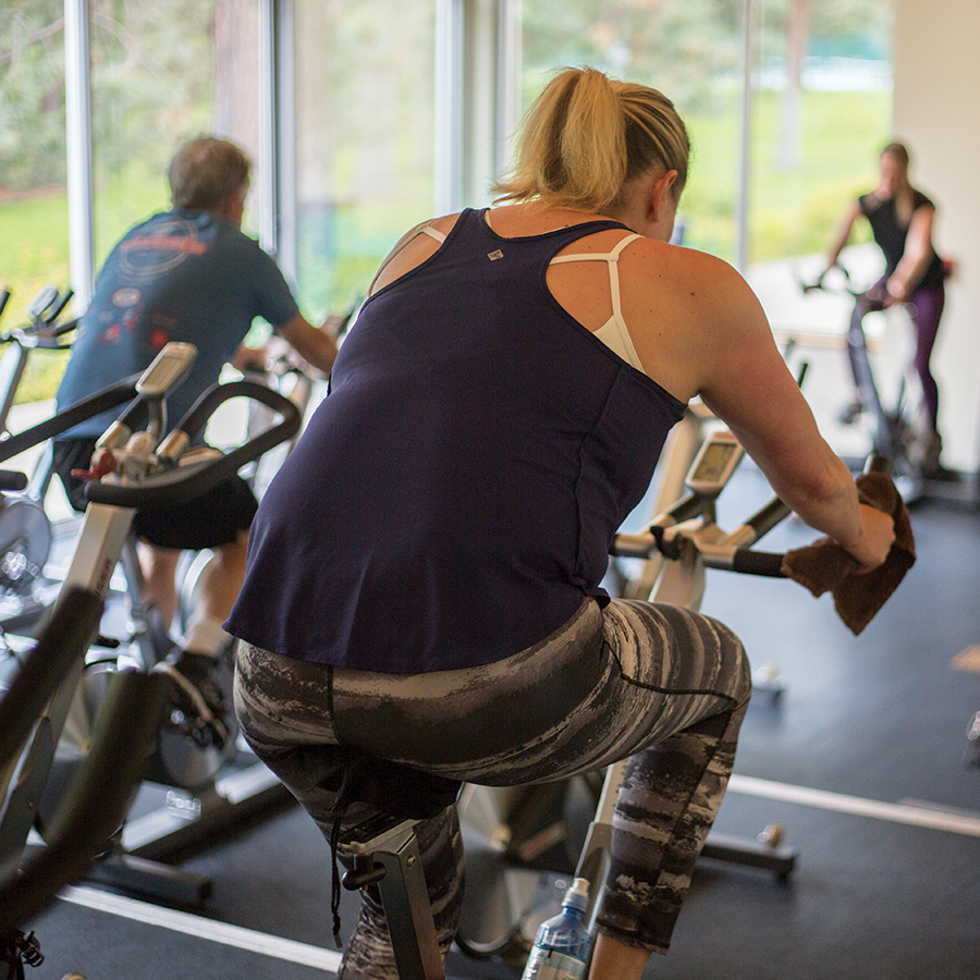 Image of a cycling class at Juniper Swim and Fitness Center.