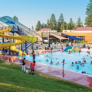 Image of the Outdoor Activity Center during summer open swim at Juniper Swim and Fitness Center.