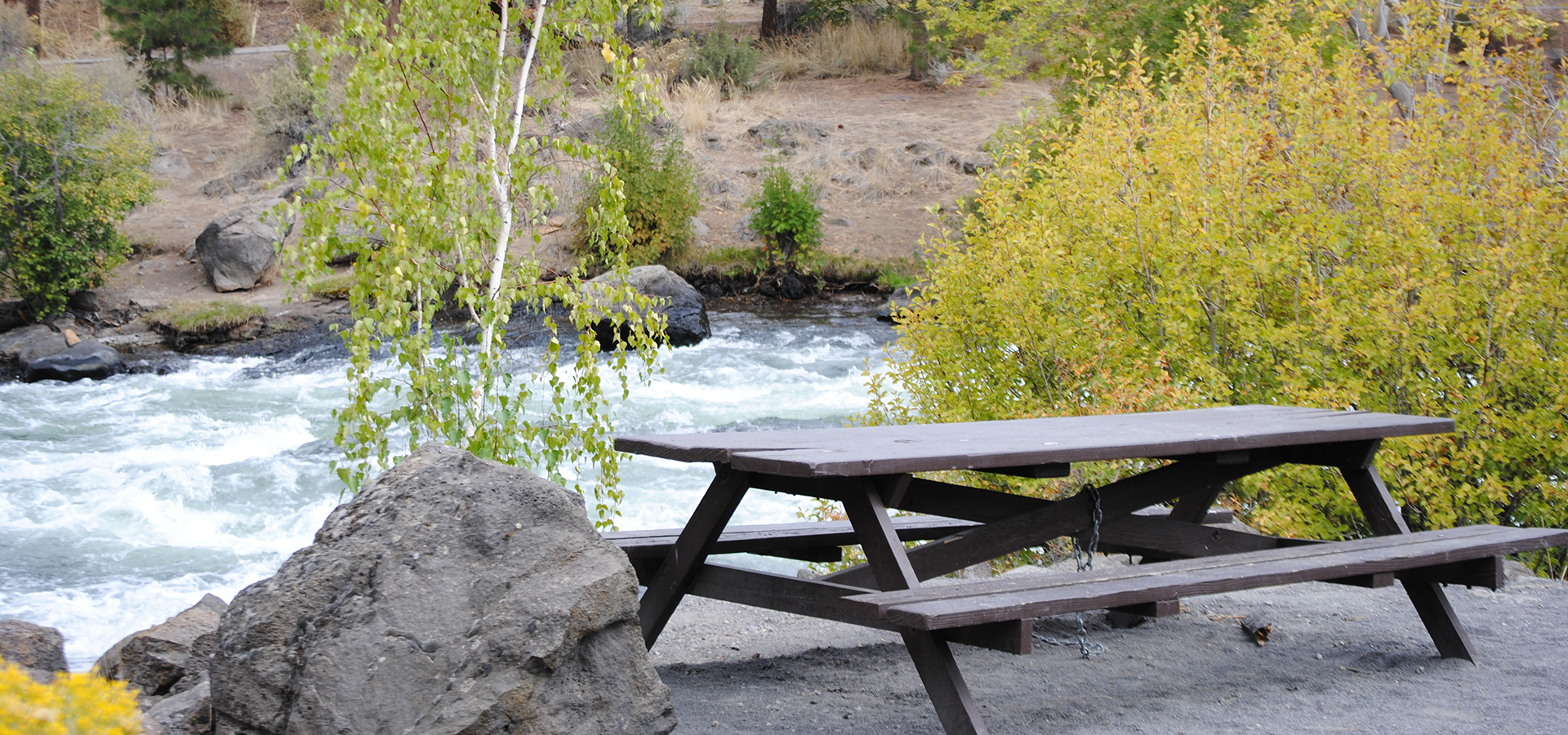 Picnic table at First Street Rapids Park