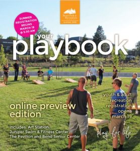Image of the front cover of the Summer 2018 Playbook recreation guide.