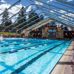 Image of the 50 meter Olympic pool at Juniper Swim and Fitness Center.