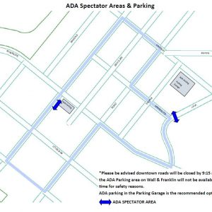 Map of ADA Spectator Area and Parking. For more information, call 541-389-7275.