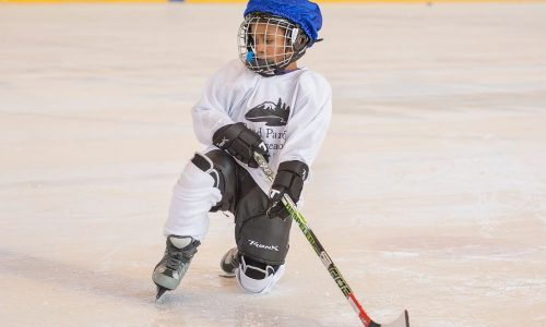An image of a Youth Learn Hockey Class at the Pavilion Ice Rink in Bend.
