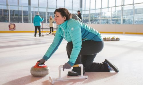 An image of an Adult Curling Clinic at the Pavilion Ice Rink in Bend.
