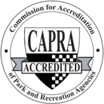 Image of a CAPRA seal for the Commission for Accreditation of Park and Recreation Agencies.