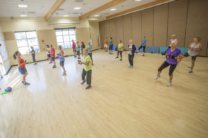 Image of a cardio fitness class at the Bend Senior Center in Bend.