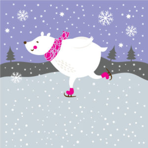 Graphic Image of a Polar bear skating for the Winter Solstice skate event.