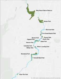 Image of Bend Park and Recreation District properties with river access to the Deschutes River.