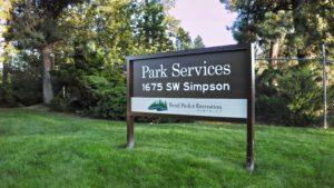 Park Services entrance sign.