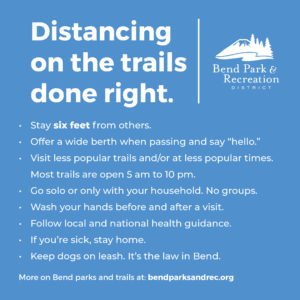 Graphic indicating best practices for distancing on parks and trails. See body text for same phrasing.