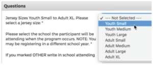 Image demonstrating how to answer registration questions.
