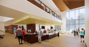 Artist rendering of Larkspur Community Center lobby and cafe area