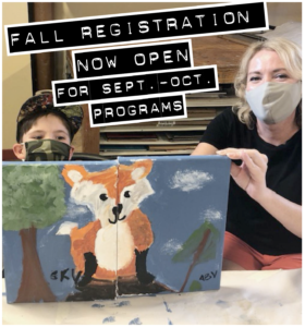 fall registration now open with photo of adult and child with art
