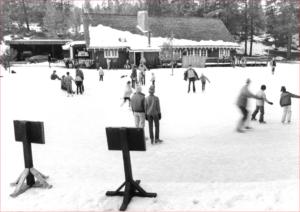 skating on pond at hatchery