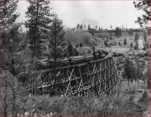 Train on trestle in Shevlin Park