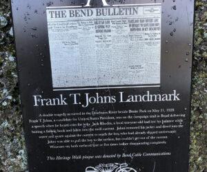 Heritage walk sign for Frank T. Johns