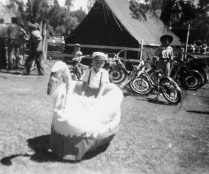 Boy in a swan float for the Water Pageant - 1950's