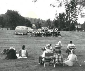 Enjoying music in Drake Park - 1960's