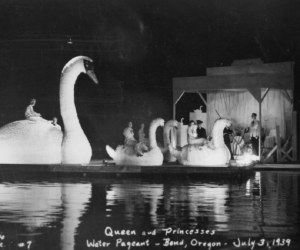 Water Pageant queen and princesses on swan floats - July 1939