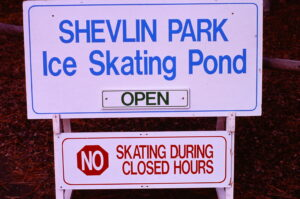 Ice skating sign at Shevlin Pond - 1994