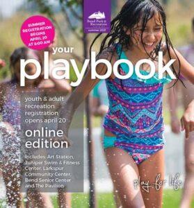 Summer 2021 Playbook with girl running through sprinkler on cover