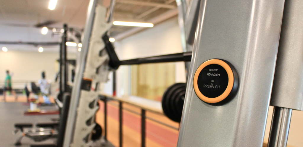 Image of an AdvaGym puck in the fitness center for the BPRD fitness app.